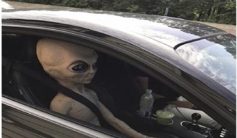 """美司机身旁坐着""""外星人"""":时速135千米/时被当地巡警果断拦下"""